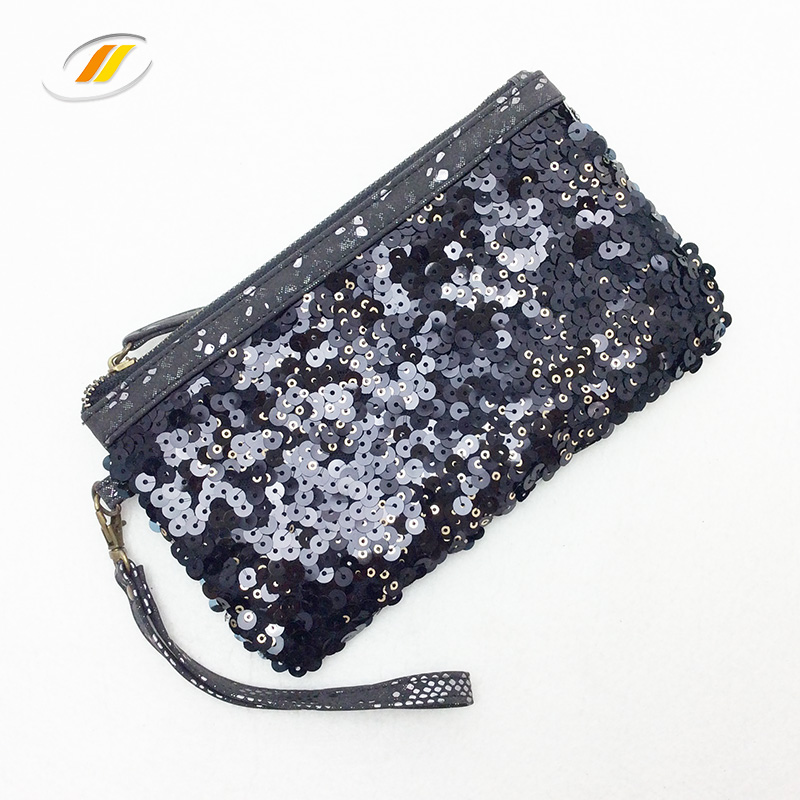 Ladies Black Sequins Mini Pu Leather Handbag