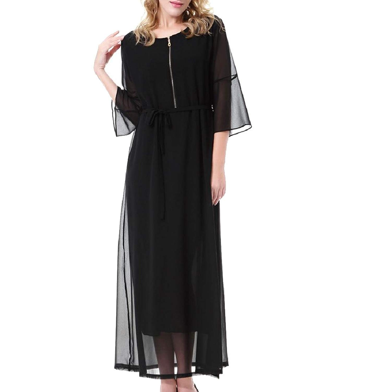 0c4add3873 Get Quotations · Buildhigh Womens Malaysia Zip Muslim Chiffon Caftan Eid Abaya  Kaftans Maxi Dress Black M