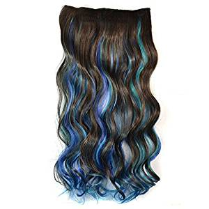 "Clip-on Hair Extensions - TOOGOO(R) Lady 24"" Two Tone Long Curly Wavy Clip-on Hair Extensions(Dark Brown and Blue)"