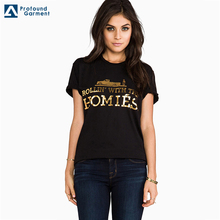 women custom short sleeve black t shirts with gold foil printing