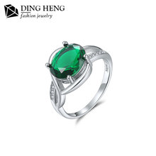 Fashion 18K white gold plate cubic zirconia simple design emerald finger jewelry silver women rings