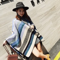 Fashion oversized warm stripe fluffy poncho stole shawl scarf