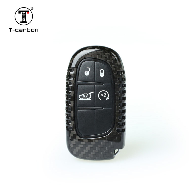 Carbon Fiber Key Fob Cover For Dodge RAM Key Fob Remote Key, Fits Dodge RAM Smart Keyless Start Stop Engine Car Key, Light Weight Glossy Finish Key Fob Protection Case - Black