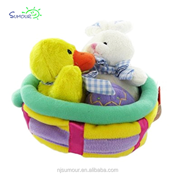 New wholesale plush easter gift basket with duck bunny buy new wholesale plush easter gift basket with duck bunny negle Choice Image