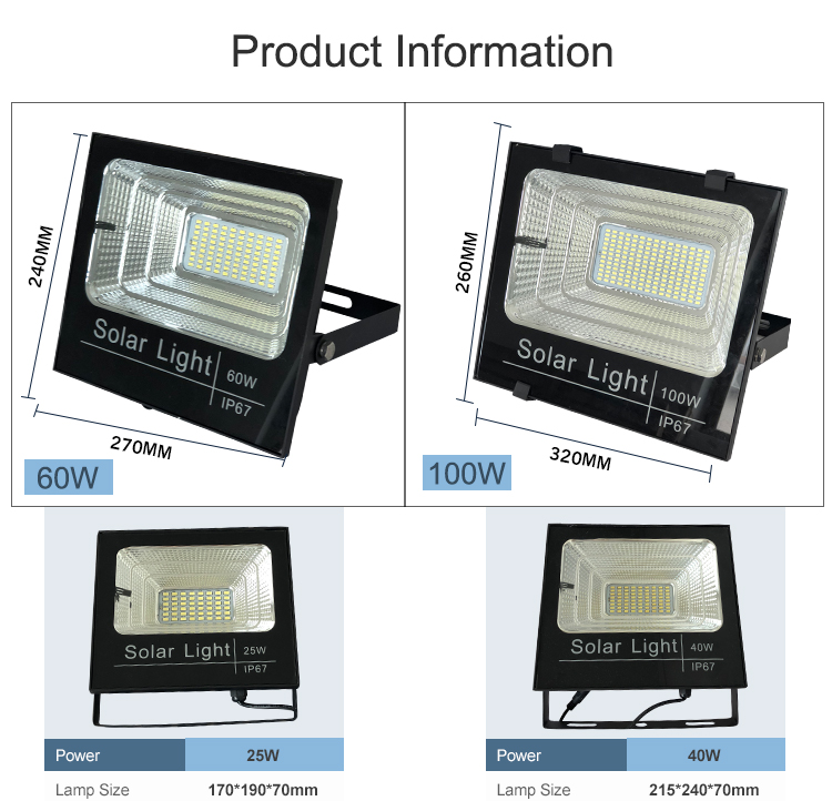 High lumen bridgelux IP65 waterproof outdoor 10 25 40 60 100 w solar  led flood light