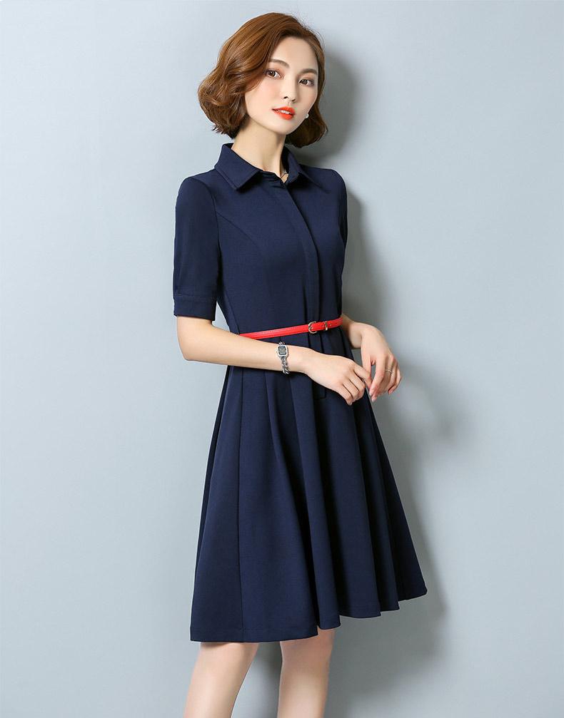 Women Fashion Elegant Sleeve Casual Party Shirt Dress Black Ladies ...