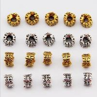4*7mm Gold Silver Round Alloy Beads Cap Jewelry Finding Accessories Metal Alloy Big Hole Spacer Beads