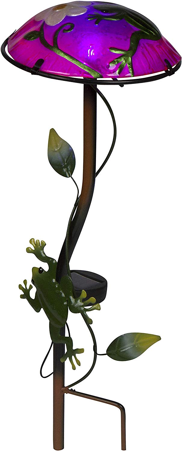 "12"" Solar Mushroom Garden Stake with Frog Design by Trademark Innovations (Light Green)"