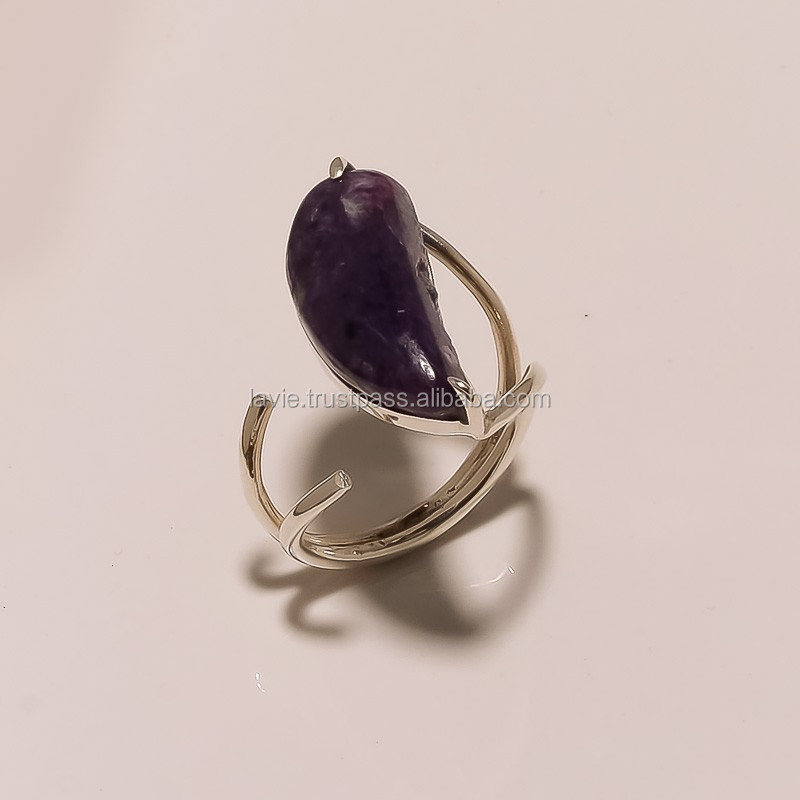 925 Sterling Silver Ring, Natural Charoite r Gemstone Jewelry, Jaipur Jewelry