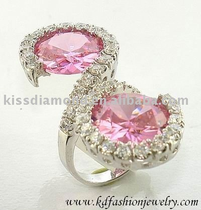 Rhodium Plated Round Pink CZ Stone Ring
