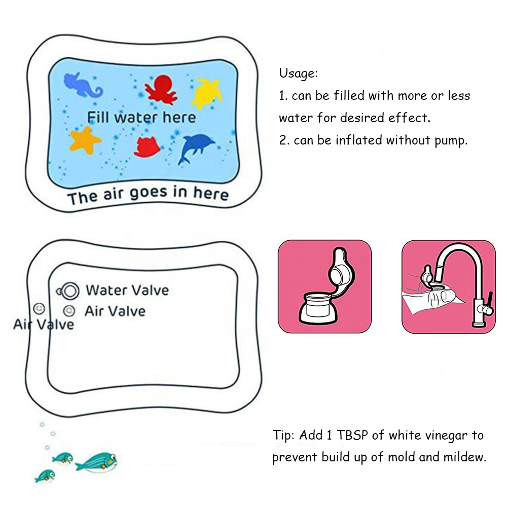 Eco-friendly PVC Tummy Time Inflatable Infant Water Play Mat with Animal Floating for Baby