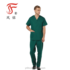 Private Label Hot Sale Polyester Cotton Scrubs Mens Long Sleeves Short Sleeves Dark Green Hospital Medical Scrubs