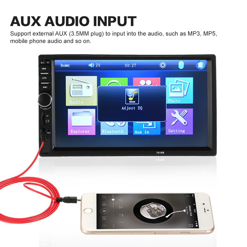 """2DIN 7/"""" HD Car Stereo Radio MP5 Player Bluetooth Touch Screen FM//MP3//MP4//Video"""