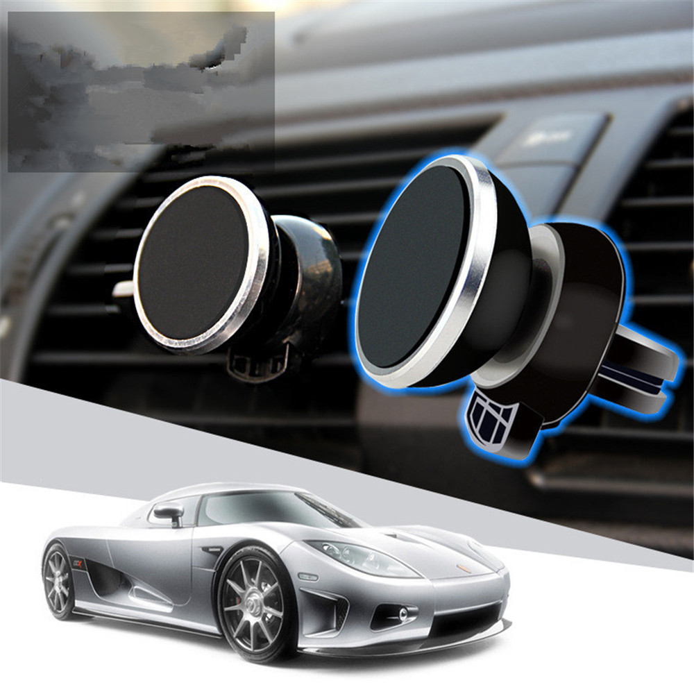 Universal Novelty Round Bracket Magnetic Exhaust Outlet Mobile Smartphone Cell Phone Car Stand Holder