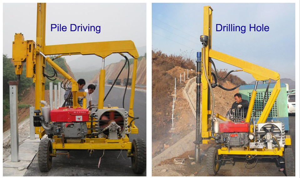 Road Crash Barrier Post Hydraulic Hammer Mini Pile Driver