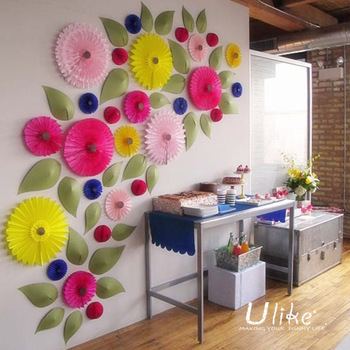 4 20 Inch Cololful Tissue Paper Fans To Festoon Your Wedding Party Decorations Wall Decoration Hanging Fan