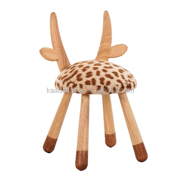 new design oem produce cow shape kids wood chair with cheapest price
