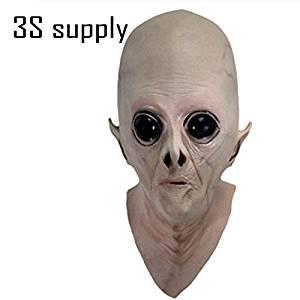 2175 NEWRealistic Creepy UFO Alien Head Halloween Mask Latex Scary Mask Costume Halloween Decoration Alien Full Face Party Latex Masks