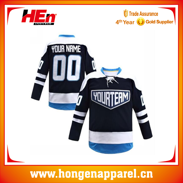Hongen Black Custom Ice Hockey Jersey Vintage style /christmas hockey  jerseys
