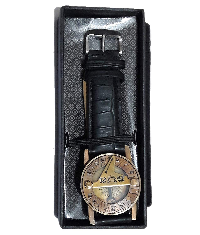 PARIJAT HANDICRAFT Wrist Brass Compass & Sundial-Watch With Leather Black Strap Sundial