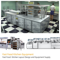 Fast Food Restaurant Equipment Chips and Hamburger Making Machine /Fast Food Truck Design Fine Project 3D Design Drawing
