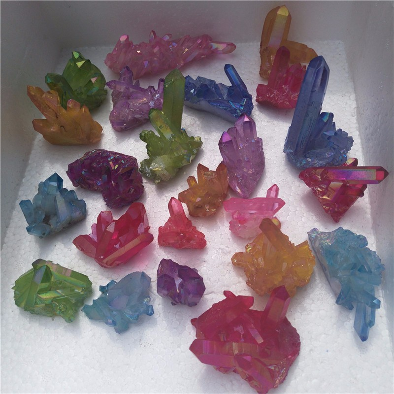 Good looking beautiful colorful quartz crystals cluster crystal aura cluster for gifts