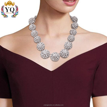 NYQ-00790 2017 latest design charm Elegant silver Hemispherical Hollow glitter rhinestone necklace