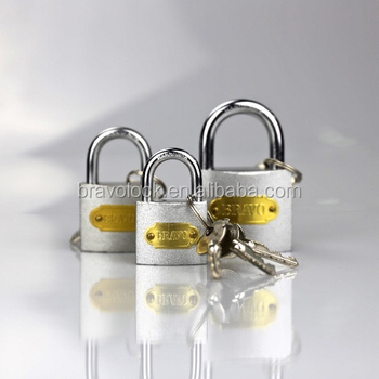 silver color iron padlock with cross key 63mm