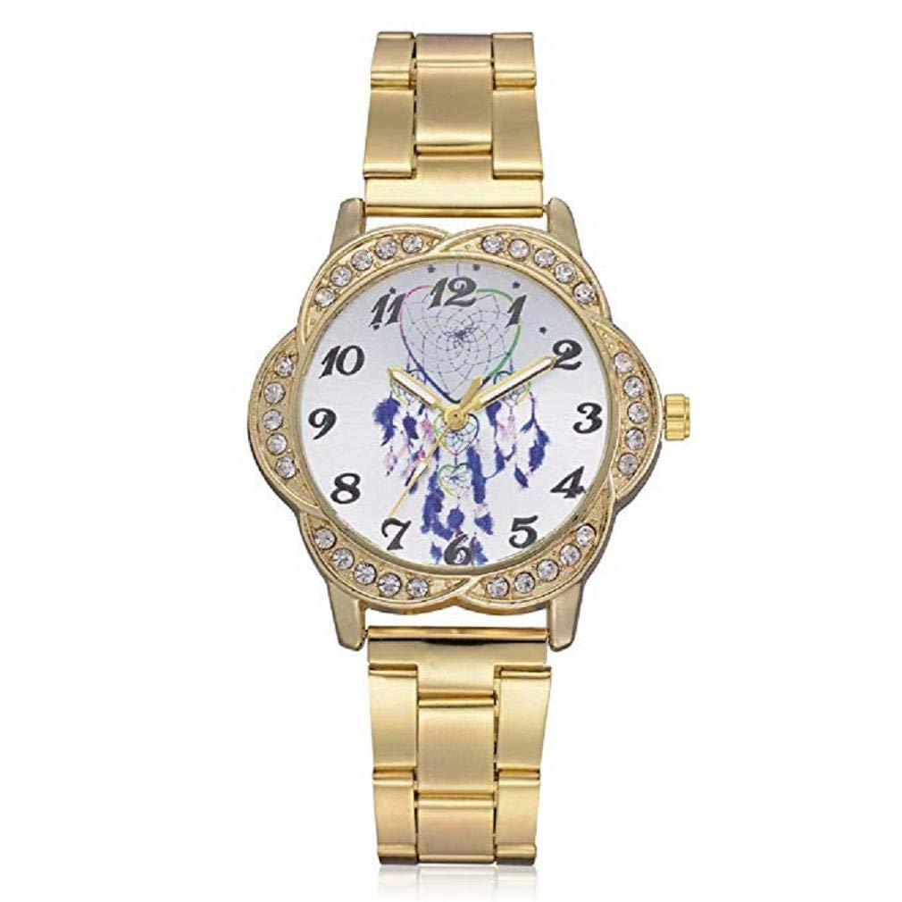 Womens Quartz Watches,Windoson Fashion Ladies Dress Watches Fanmis Luxury Rhinestone Bracelet Quartz Stainless Steel Alloy Watch, Elegant Lady Watches Female Watches (Gold)
