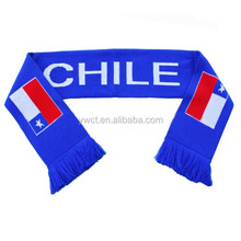 Hot Style Chile Country Flag Scarf Knit Country Fans Scarf for Sale