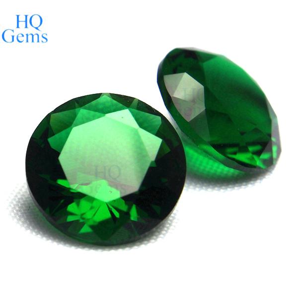 Emerald Green Round Synthetic Gem Created Gemstone