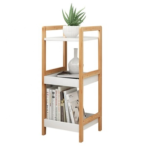 Bamboo flower rack storage rack shelf Corner storage three tier with white storage box