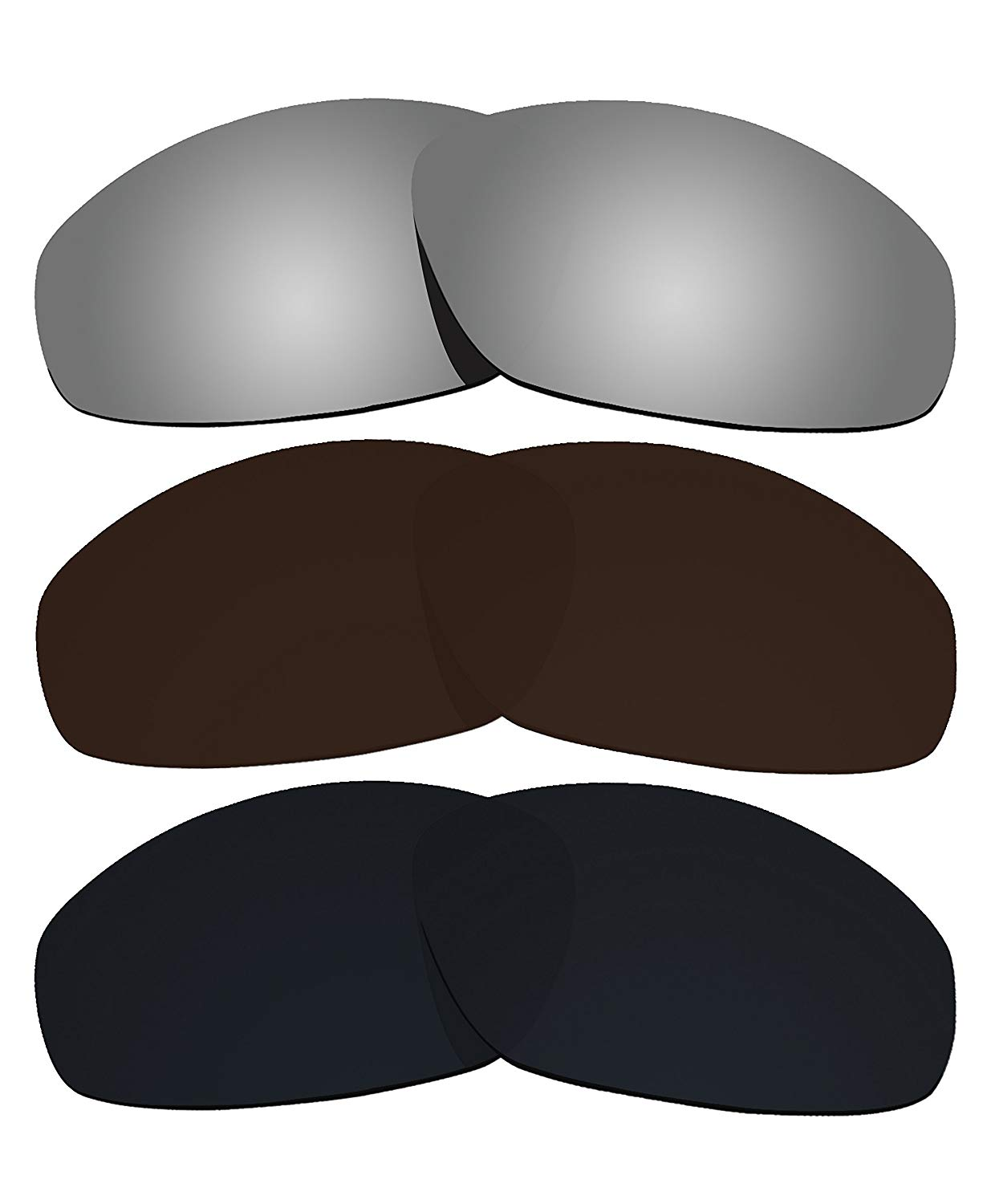 2de767a1ed Get Quotations · 3 Pairs COLOR STAY LENSES 2.0mm Thickness Polarized  Replacement Lenses Brown   Black   Silver