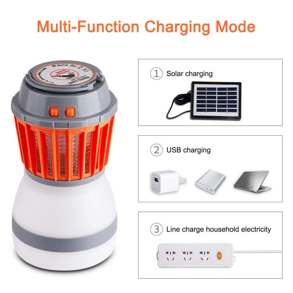 Exteren Solar Panel Mosquito Killer Lamp, UV Solar LED Electric Fly Insect Bug Pest Mosquito Trap Zapper Killer Night Lamp Led Light Outdoor Led Lights (Multicolor)