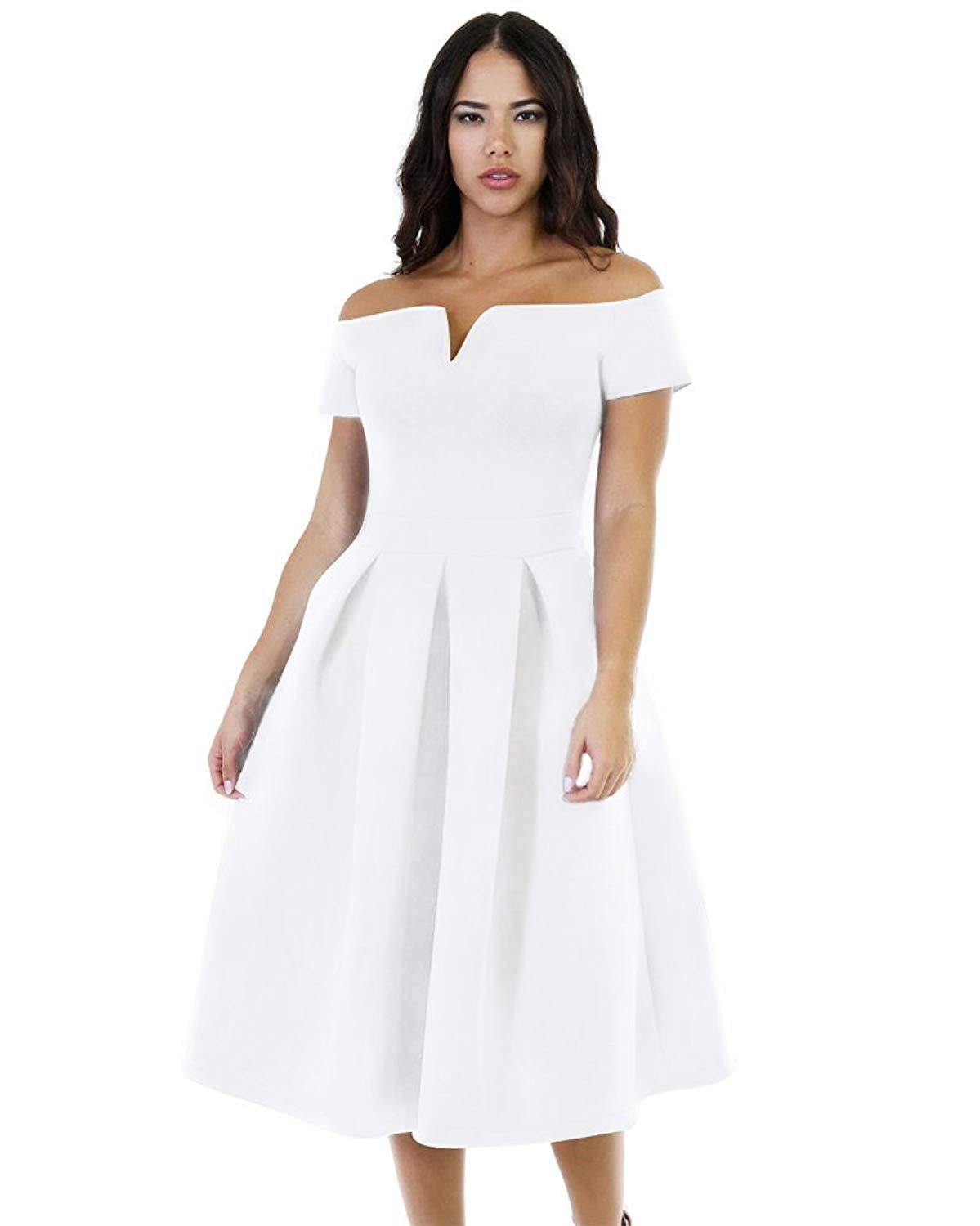 f895aecd2a Get Quotations · Lalagen Women s Vintage 1950s Party Cocktail Wedding Swing  Midi Dress