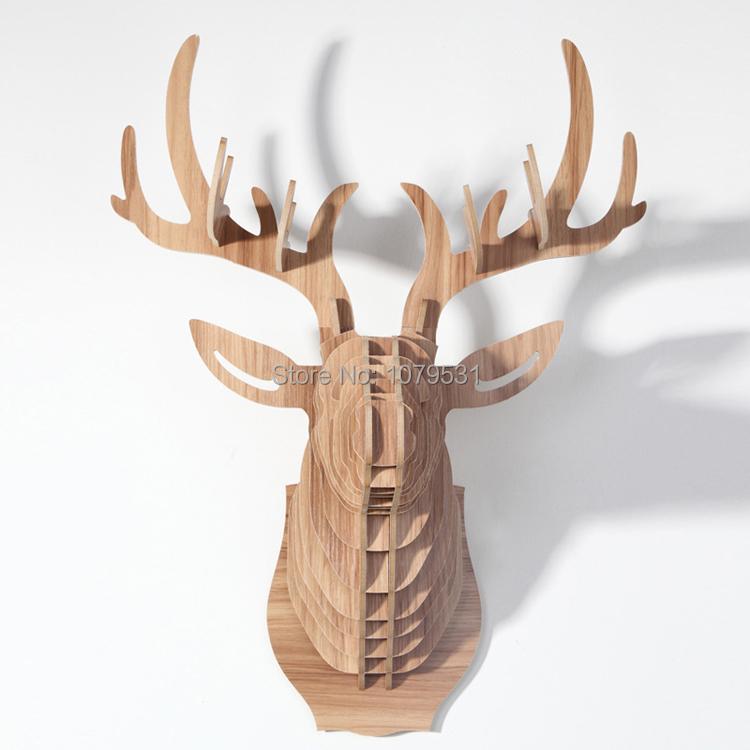 Home Decoration Of Wooden Crafts Deer Head Wall Hanging Wood Carved Elk Animal