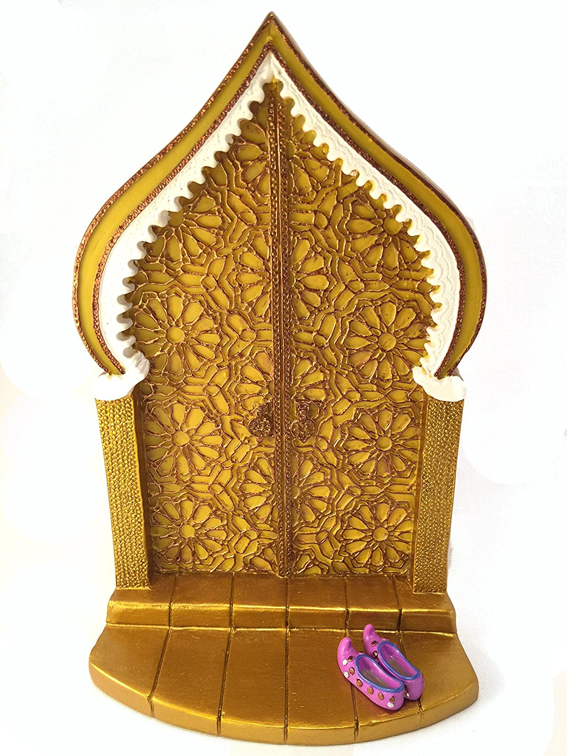 Miniature Fairy Door for a the Enchanted Garden Fairies and Gnomes - A Beautiful Golden Moroccan Style Miniature Door with Removable Purple Fairy Shoes