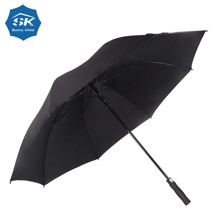 Libre de la muestra de encargo de doble capa a prueba de viento negro paraguas de Golf