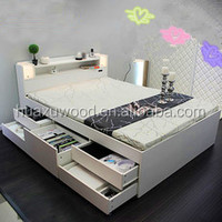 modern useful wooden single double bed with drawers design