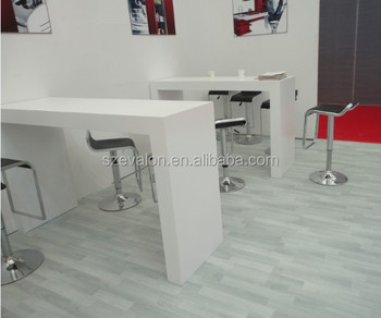 White Resin Acrylic Stone Kitchen Tabletop For Home , Dinner Table,solid  Surface Reception Desk