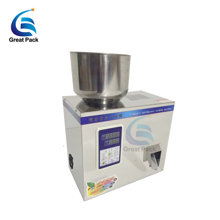 Small pouch bean and powder coffee filling machine
