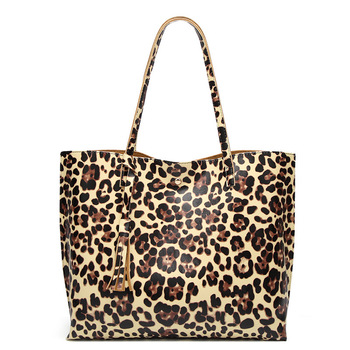 Wild Animal Leopard Tiger Print PU Leather Handbag Tote