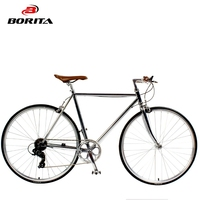 Chinese Sale Retro Vintage Steel Adult Complete Light Weight Silver 700C Race Cycles Cheap Racing Trek Road Bicycle for men