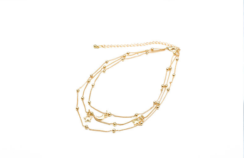 Classic Hot Style Multi-Layered Star And Moon Chain Necklace