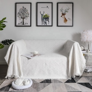 YRYIE Wholesale White Cotton Woven Couch Sofa Decorative Airplane Knitted Throw Tassel Blanket