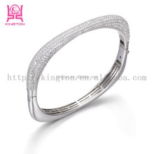 hot sale micro pave diamond slave 925 silver bracelet jewelry