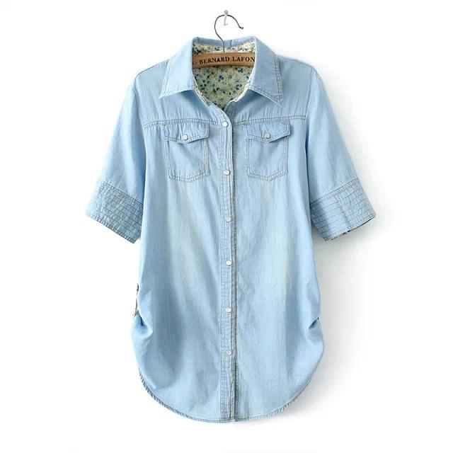 9677b22826d68 Get Quotations · Women Summer Style Denim Blusas Female Short Sleeve Cotton  Pocket Shirt Plus Size Casual Long Jeans
