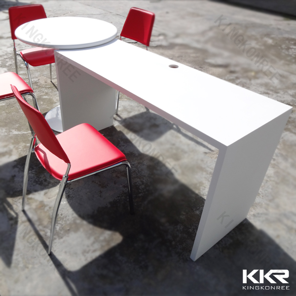 Custom made modern shape solid surface rectangle bar table