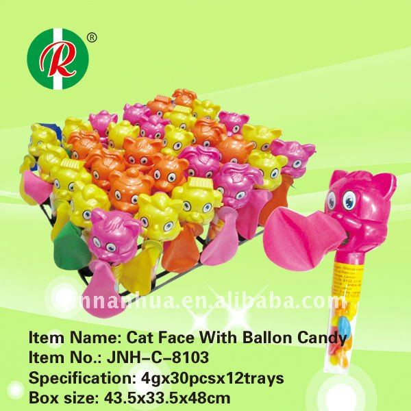 Cat face with ballon candy/ sweet toy cat/ sugar