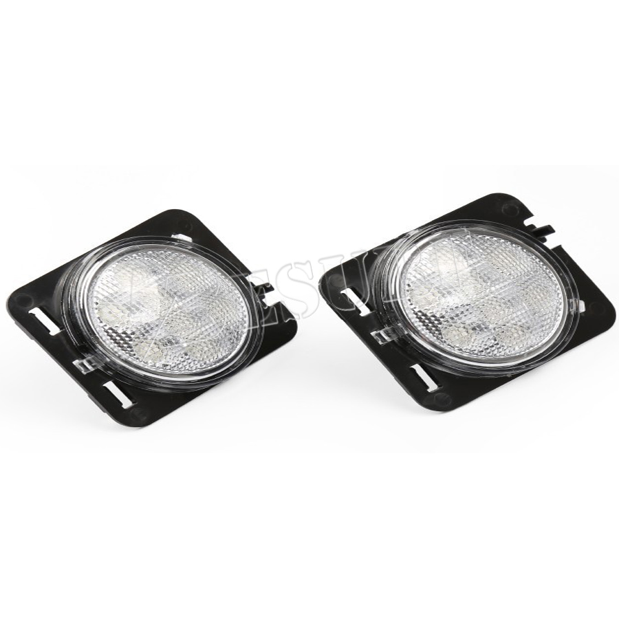 High Intensity 1 Pair White Side Marker Light Auto Accessories Small LED Wheel Trims Side Indicator for Jeep Wrangler